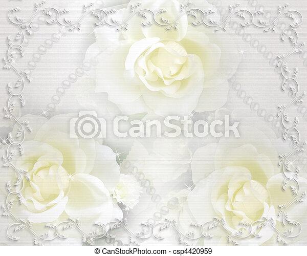 ばら, 結婚式, 背景, 招待 - csp4420959