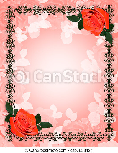 ばら, 結婚式, 赤, 招待 - csp7653424