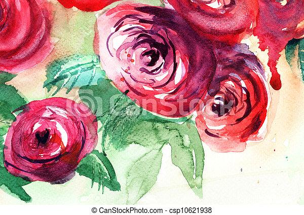 ばら, 絵, 水彩画, 花, 美しい - csp10621938