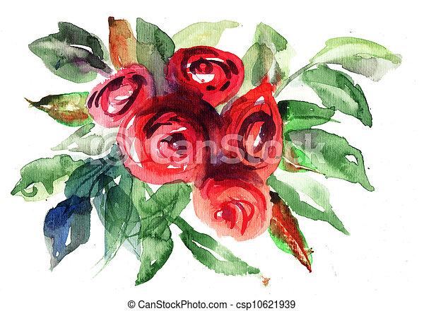 ばら, 絵, 水彩画, 花, 美しい - csp10621939