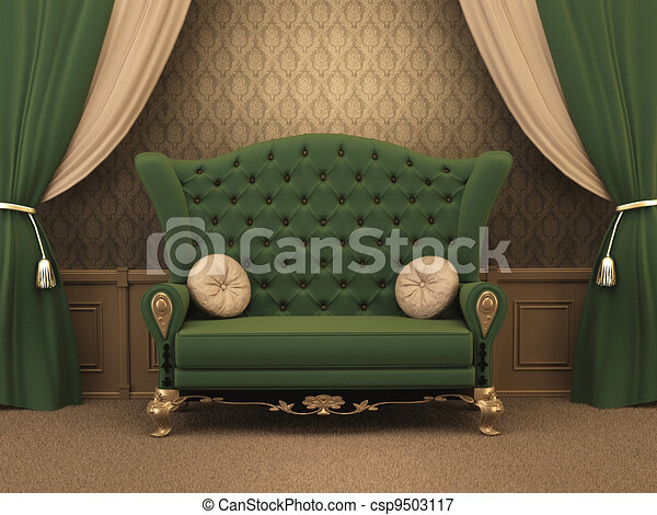 ひだのある布, textured, luxe., 枕, 古い, 贅沢, カーテン, スタイルを作られる, apartment., ソファー, interior. - csp9503117