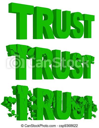 ぼろぼろに崩れる, 信頼, 単語, 割れること - csp9368622