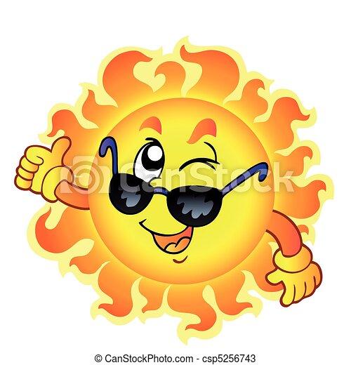 まばたき, 太陽, サングラス, 漫画 - csp5256743