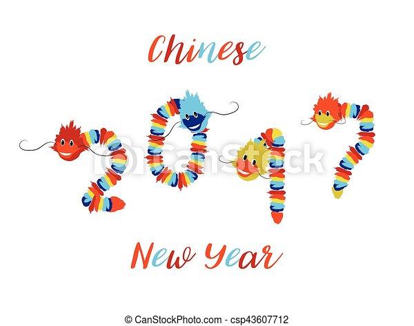 よい, 中国のドラゴン, シンボル, アジア人, 年, 新しい, 運 - csp43607712