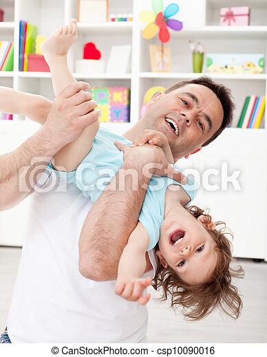 よちよち歩きの子, 父, 遊び, 息子 - csp10090016
