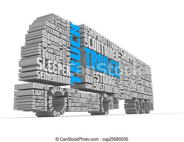 より低い, トラック, 言葉, 前部, 3d, 形づくること, トレーラー, 光景 - csp25680030