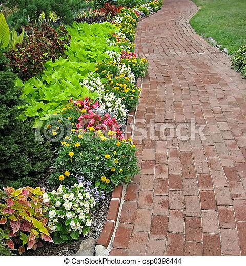 れんが, 庭, 通り道 - csp0398444