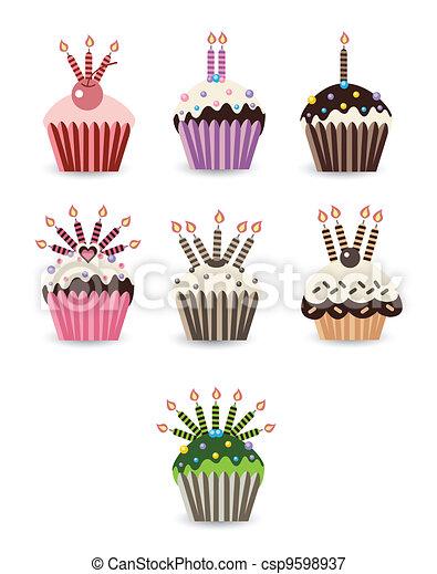 ろうそく, セット, cupcake - csp9598937