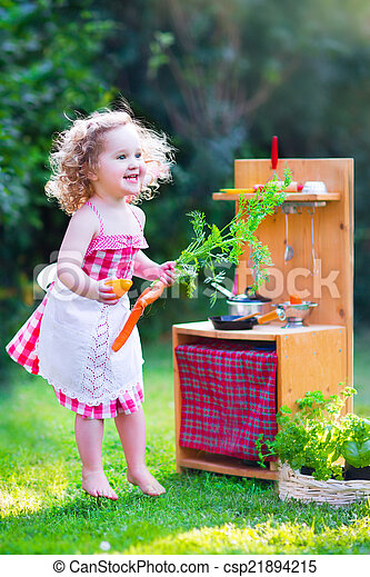 わずかしか, おもちゃ, 女の子, 台所, 遊び - csp21894215