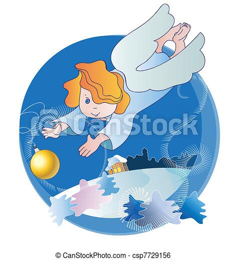 わずかしか, ボール, クリスマス, 天使 - csp7729156