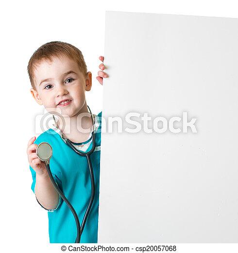 わずかしか, 医者, 隔離された, の後ろ, ブランク, 旗, 子供 - csp20057068