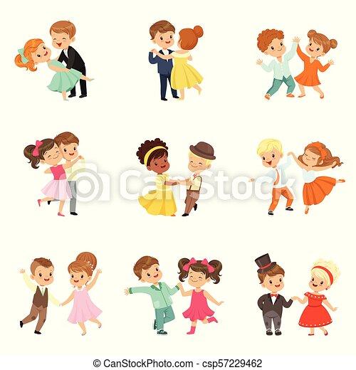 わずかしか, 子供, 古典である, ダンス, セット, 恋人, 現代 ダンス, ベクトル, 行なわれた, 背景, イラスト, 白, 子供 - csp57229462