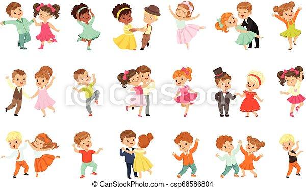 わずかしか, 子供, 古典である, ダンス, セット, 恋人, 現代 ダンス, ベクトル, 行なわれた, 背景, イラスト, 白, 子供 - csp68586804