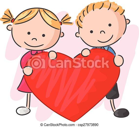 わずかしか, 子供, 愛, 漫画, 保有物 - csp27973890