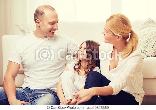わずかしか, 床, モデル, 親, 家, 女の子 - csp29326569