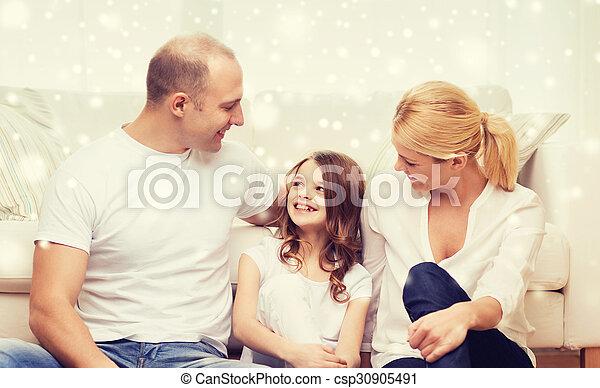 わずかしか, 床, モデル, 親, 家, 女の子 - csp30905491