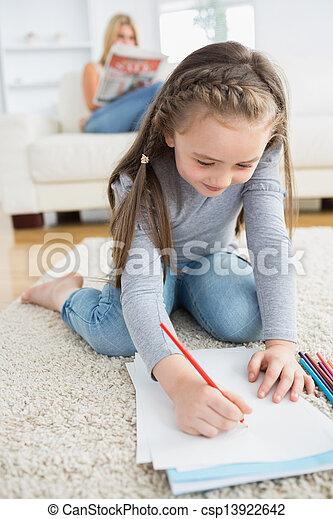 わずかしか, 床, 女の子, 図画, モデル - csp13922642