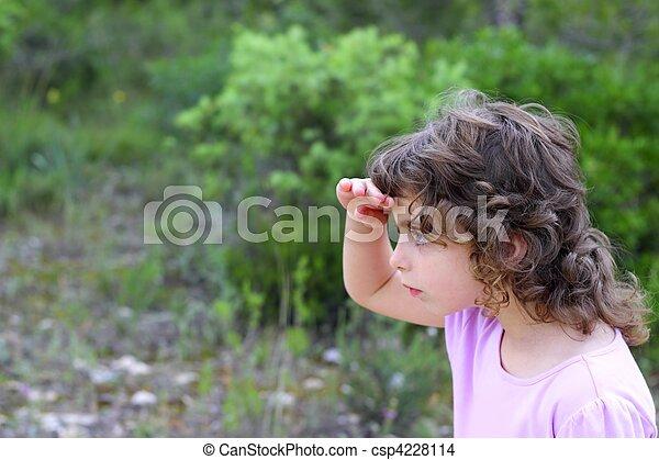 わずかしか, 探検家, 公園, 探索, 森林, 女の子 - csp4228114