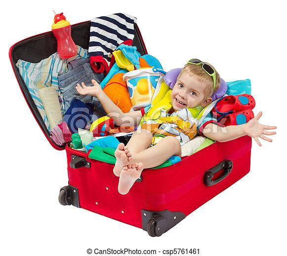わずかしか, 旅行, 休暇, スーツケース, パックされた, 子供 - csp5761461