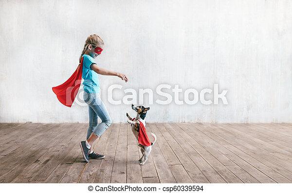 わずかしか, 極度, 犬, 女の子 - csp60339594