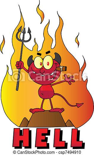 わずかしか, 煙が出ている葉巻き, 悪魔 - csp7494910