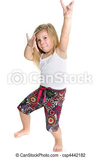 わずかしか, 白, 上に, 女の子, ダンス - csp4442182