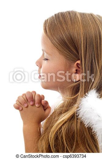 わずかしか, 祈ること, 愛らしい, 女の子 - csp6393734