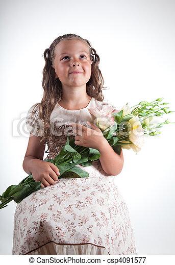 わずかしか, 花, 女の子 - csp4091577