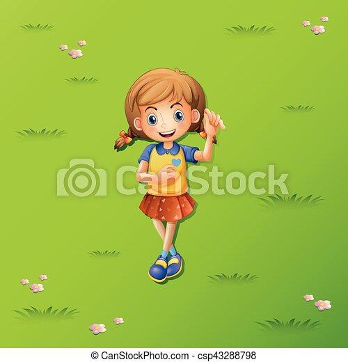 わずかしか, 草, 女の子, あること - csp43288798
