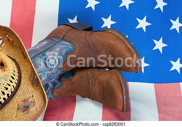 わら帽子, ブーツ, カウボーイ - csp6283001