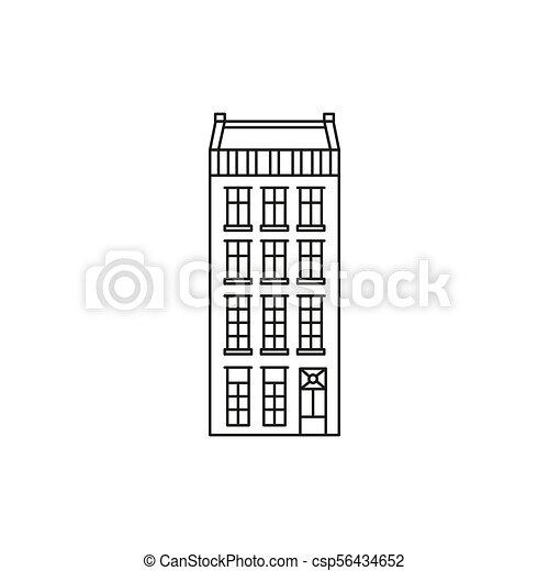 アイコン, アムステルダム, スタイル, アウトライン, 家 - csp56434652