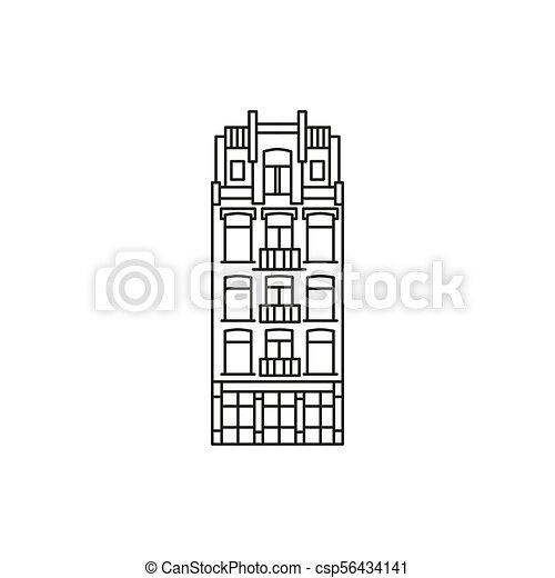 アイコン, アムステルダム, スタイル, アウトライン, 家 - csp56434141