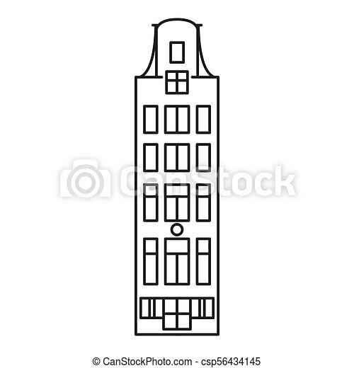 アイコン, アムステルダム, スタイル, アウトライン, 家 - csp56434145