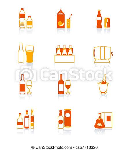 アイコン, シリーズ, 飲みなさい, 水分が多い, びん, | - csp7718326