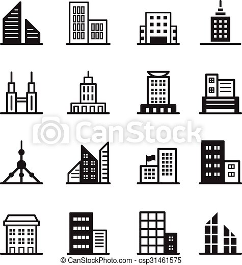 アイコン, シンボル, 建物, イラスト, ベクトル - csp31461575