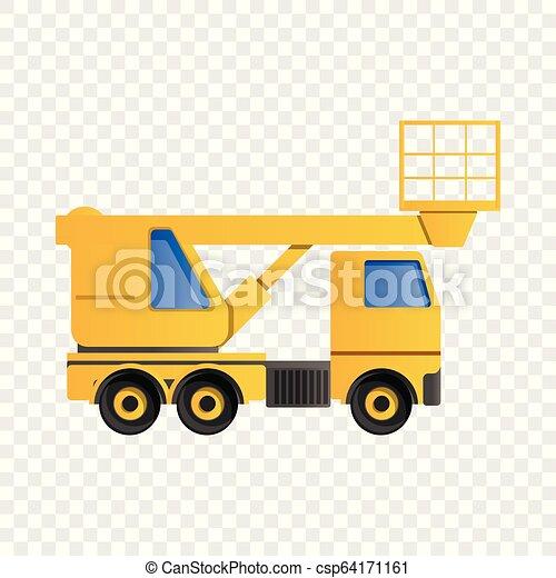 アイコン, スタイル, トラック, 漫画, 持ち上がること - csp64171161