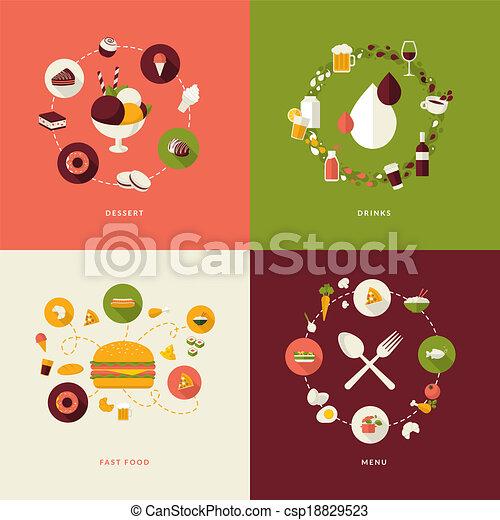 アイコン, セット, レストラン, 平ら - csp18829523