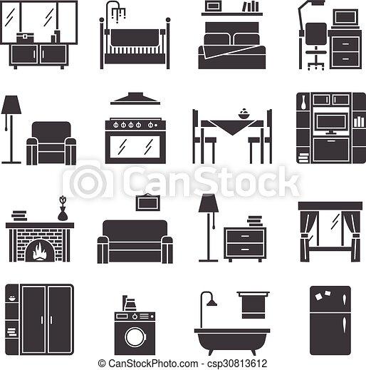 アイコン, セット, 家具, 内部 - csp30813612
