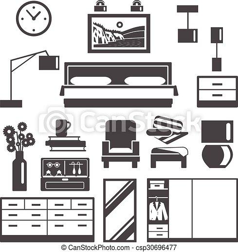 アイコン, セット, 家具, 寝室 - csp30696477