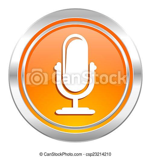 アイコン, マイクロフォン, podcast, 印 - csp23214210