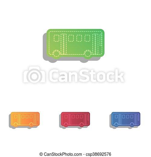 アイコン, 単純である, バス, 印。, colorfull, アップリケ, set. - csp38692576