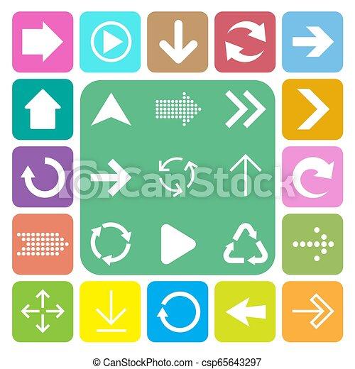 アイコン, 印, 基本, セット, 矢 - csp65643297