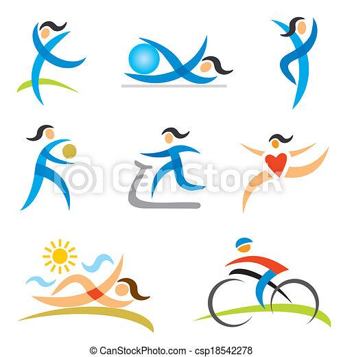 アイコン, 女, スポーツ, 健康 - csp18542278