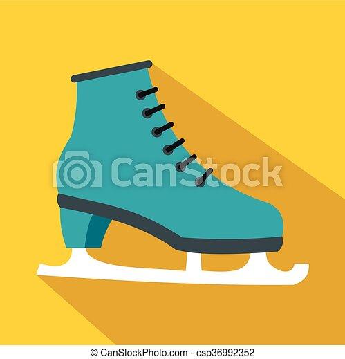 アイコン, 平ら, スタイル, スケート, 氷 - csp36992352
