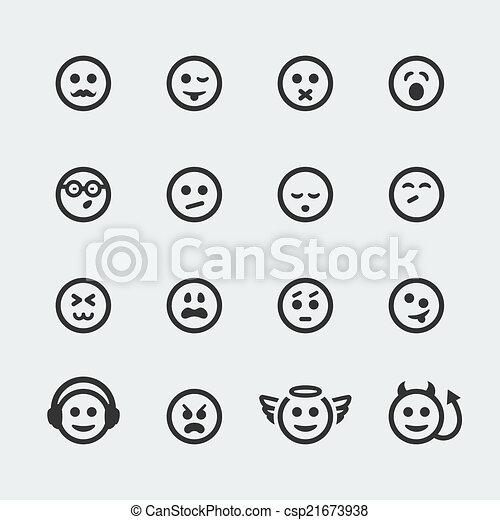 アイコン, 微笑, #2, セット, ベクトル, ミニ - csp21673938