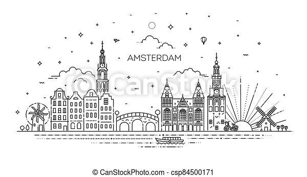アイコン, 歴史的, 旅行, アムステルダム, 建物, 薄くなりなさい, ランドマーク, 線 - csp84500171