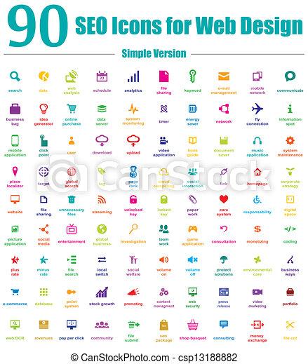 アイコン, 網, 単純である, seo, デザイン, 90 - csp13188882