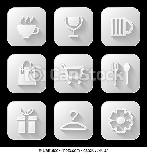アイコン, 網, set., ベクトル, illustration. - csp20774007