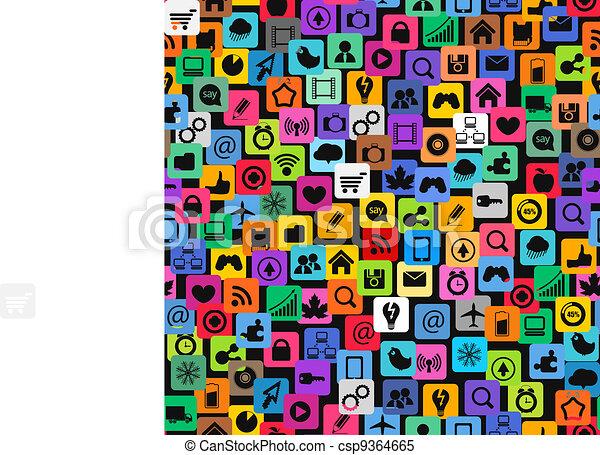 アイコン, 色, 媒体, 現代, seamless, 手ざわり, 社会 - csp9364665