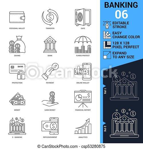 アイコン Set イラスト 銀行業 ベクトル 薄いライン ベクトル